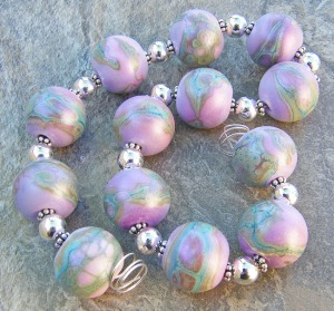 Enchanted Sea Pearls - lampwork bead set