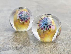 Urchin Walk bead pair