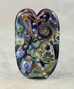 Mystic Heart - lampwork bead focal