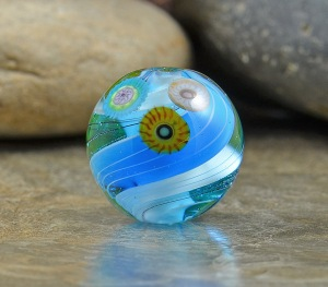 Arctic Sea - large round focal bead