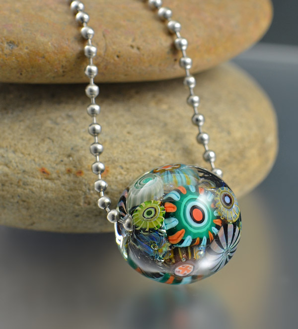COZUMEL REEF - encased murrini bead necklace