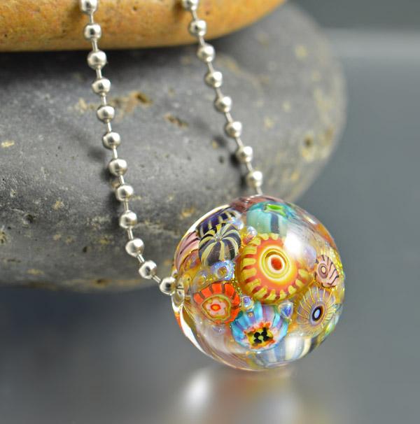 HONOLULU REEF - encased murrini bead necklace
