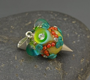 Citrus Bubble Crown - bead pendant