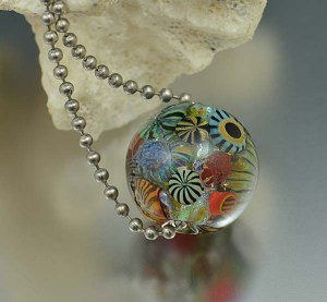 Cambria Reef - encased murrini bead necklace