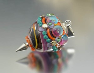 Carnival - glass bead pendant
