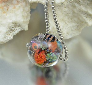 Great Barrier Reef - encased murrini bead necklace