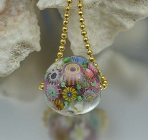 Pink Peony Reef - encased murrini bead necklace