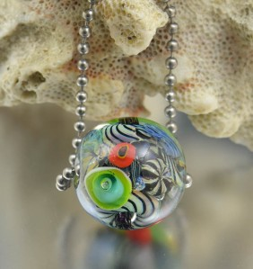 KANEOHE REEF - encased murrini bead necklace