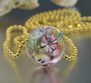 Pink Sand Reef - encased murrini bead necklace