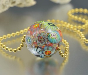 Sunset Reef - encased murrini bead necklace