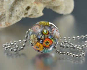 Treasure Reef - encased murrini bead necklace