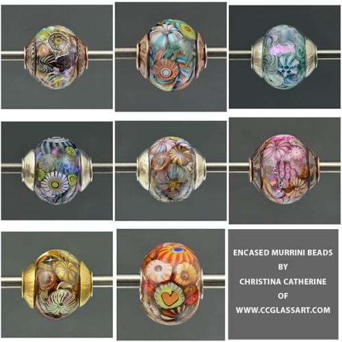 encased murrini beads, brass caps, silver caps, copper caps, necklace beads, bracelet beads, handmade lampwork beads
