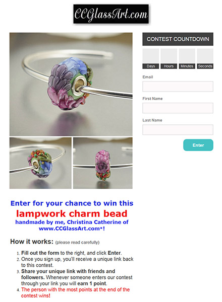free glass charm bead, lampwork bead giveaway, handmade glass bead contest, win a free bead, hand sculpted glass work bead