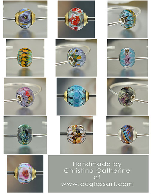 handmade lampwork glass charm beads, european charm beads, charm bracelet beads, encased murrini beads, handmade italian glass beads, murano beads