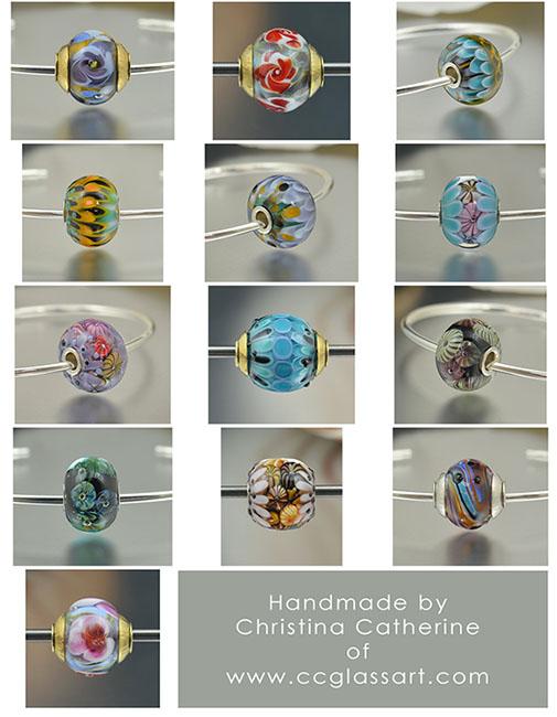 handmade lampwork glass charm beads, european charm beads, charm bracelet beads, encased murrini beads, handmade italian glass beads, murano beads