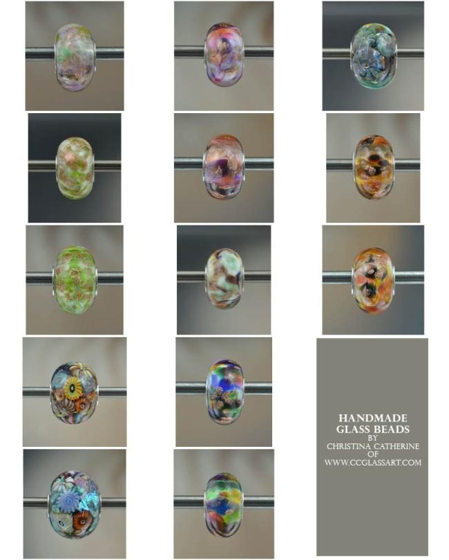handmade glass charm beads, murano beads, italian glass beads, bracelet beads