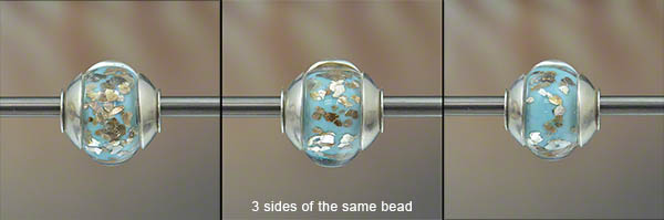 encased silver glitter charm bead, big hole bead