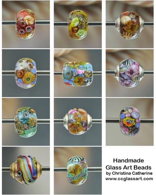 artisan glass art charm beads by Christina Catherine of ccglassart