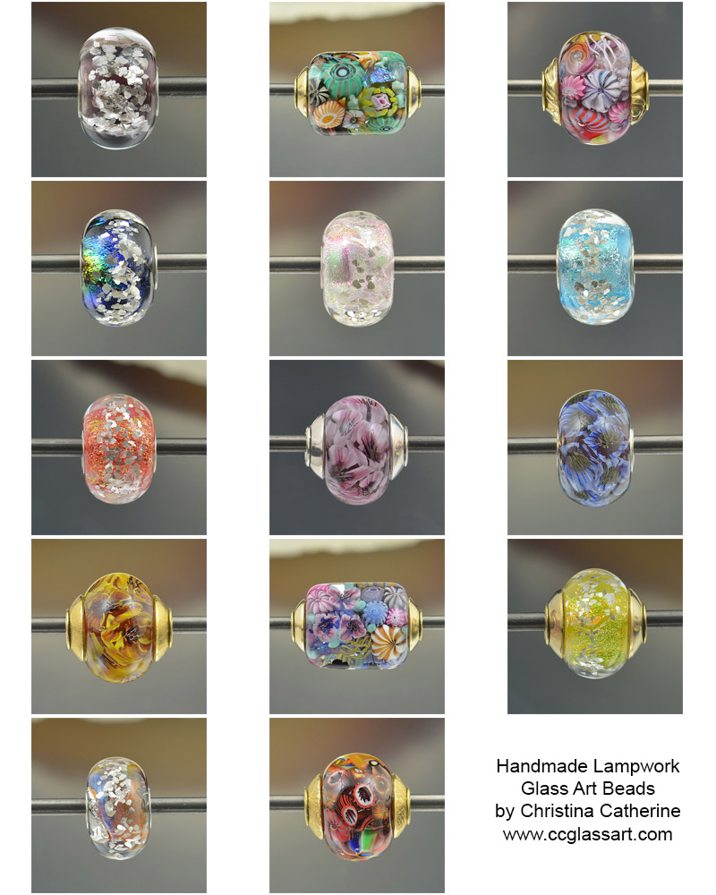 a collage of lampwork handmade artisan glass beads
