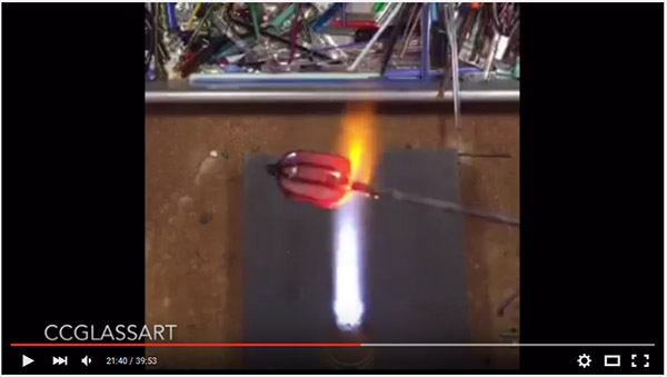 Making a 'hollow' core murrini cane for lampwork glass beads