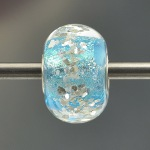 big hole lampwork blue glitter bead
