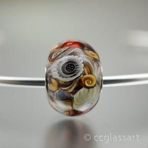 amber ivory encased murrini charm bracelet bead