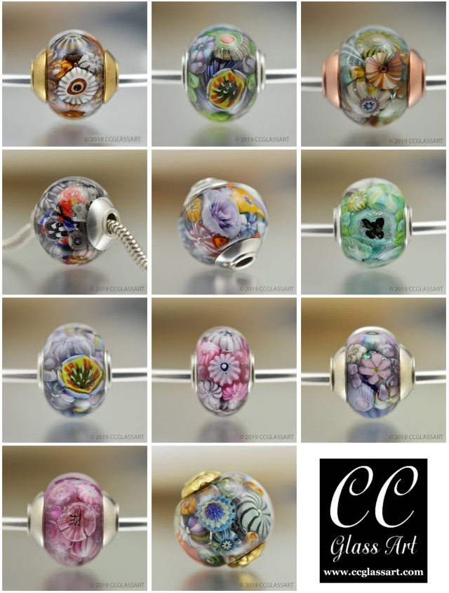 Encased murrini glass art beads