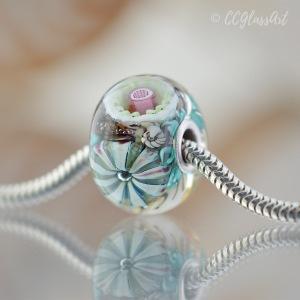 Handmade murrini encased glass bead with big hole sterling silver core
