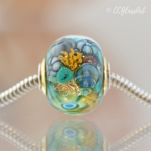 Handmade Glass Art Encased Murrini Charm Bracelet Bead