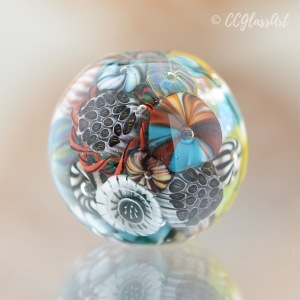 Handmade Marble Paperweight Style Encased Murrini Glass Art Bead