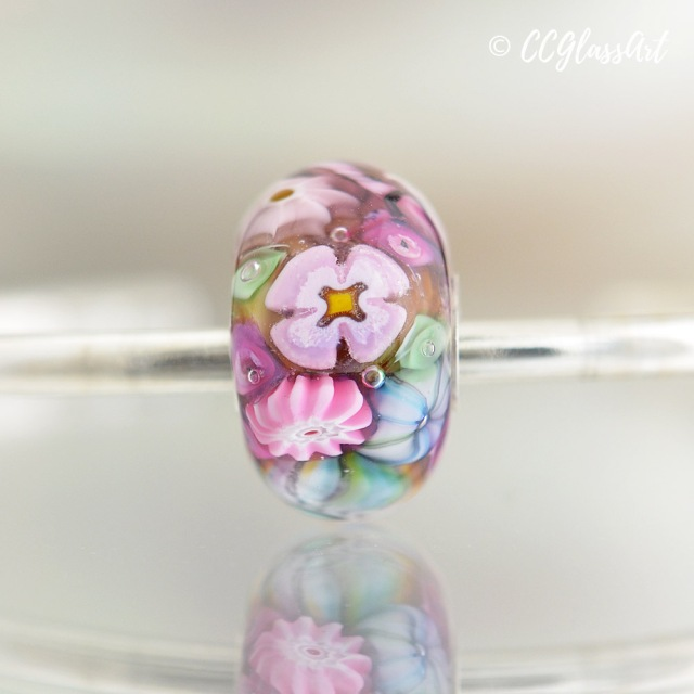 Easter Reef - big hole encased murrini bead