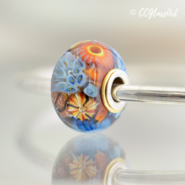 Reef Series encased murrini big hole bead