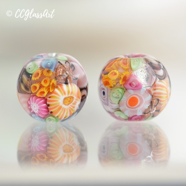 Easter Reef - set of 2 encased round murrini beads
